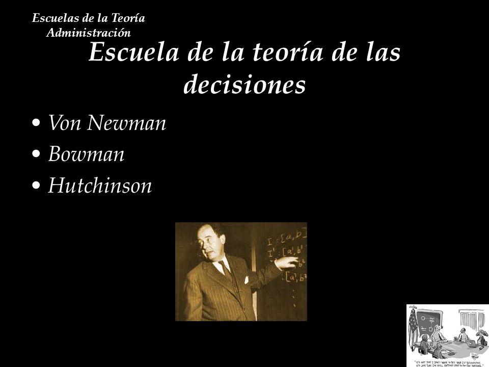 Escuela de la teoría de las decisiones Escuelas de la Teoría Administración Von Newman Bowman Hutchinson
