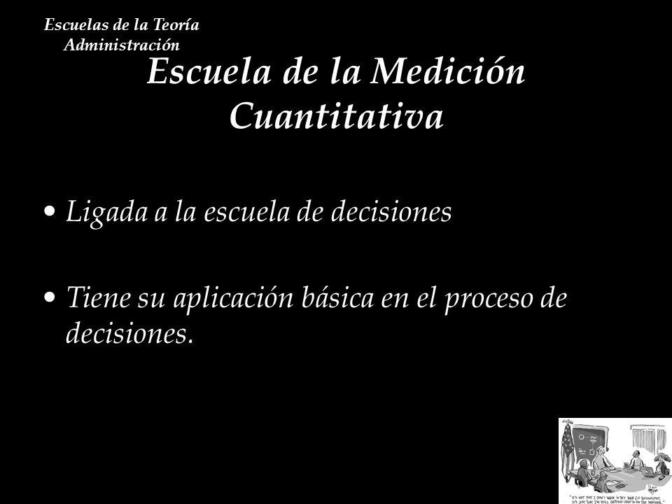 Escuela de la Medición Cuantitativa Escuelas de la Teoría Administración Ligada a la escuela de decisiones Tiene su aplicación básica en el proceso de