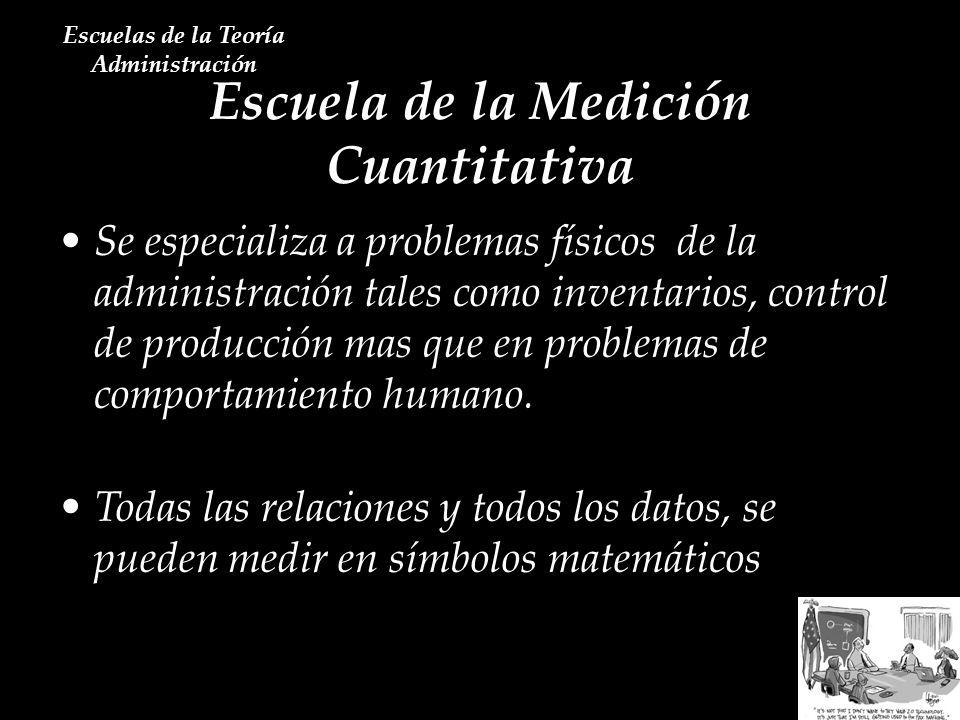 Escuela de la Medición Cuantitativa Escuelas de la Teoría Administración Se especializa a problemas físicos de la administración tales como inventario