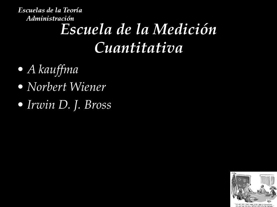 Escuela de la Medición Cuantitativa Escuelas de la Teoría Administración A kauffma Norbert Wiener Irwin D. J. Bross