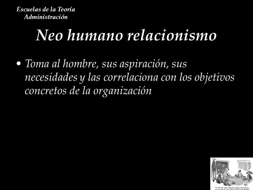 Neo humano relacionismo Escuelas de la Teoría Administración Toma al hombre, sus aspiración, sus necesidades y las correlaciona con los objetivos conc