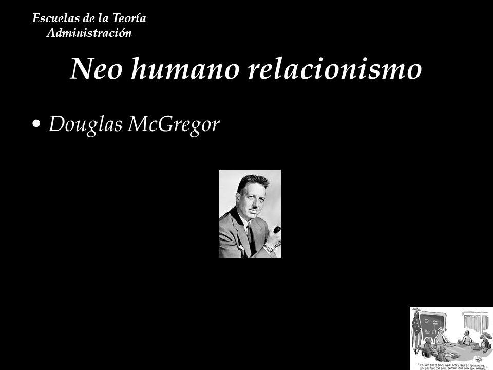 Neo humano relacionismo Escuelas de la Teoría Administración Douglas McGregor