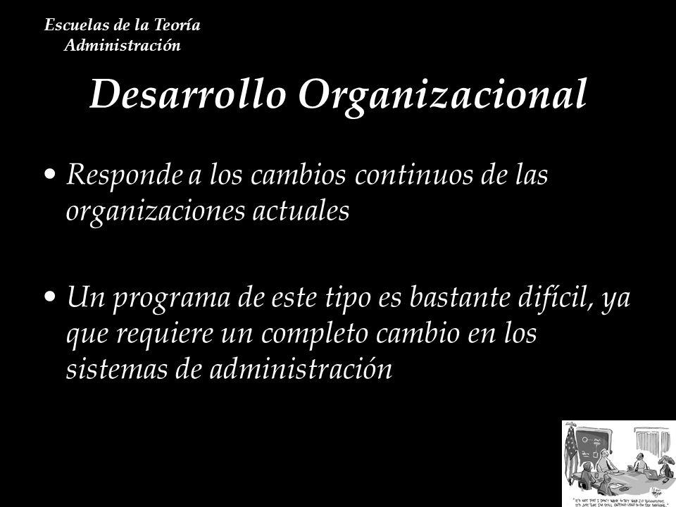 Desarrollo Organizacional Escuelas de la Teoría Administración Responde a los cambios continuos de las organizaciones actuales Un programa de este tip
