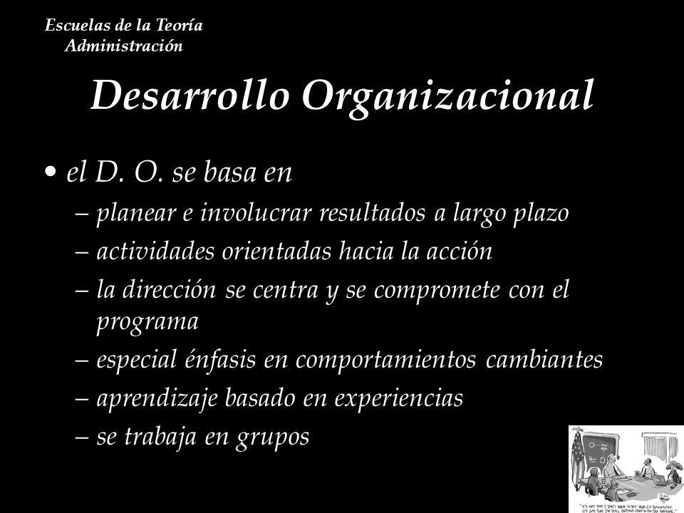 Desarrollo Organizacional Escuelas de la Teoría Administración el D. O. se basa en –planear e involucrar resultados a largo plazo –actividades orienta