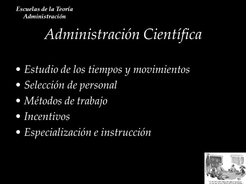 Estudio de los tiempos y movimientos Selección de personal Métodos de trabajo Incentivos Especialización e instrucción Administración Científica Escue
