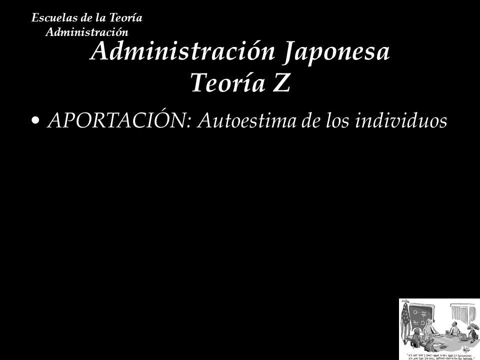 Administración Japonesa Teoría Z Escuelas de la Teoría Administración APORTACIÓN: Autoestima de los individuos