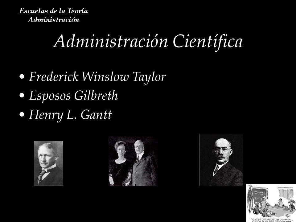 Administración Científica Escuelas de la Teoría Administración Frederick Winslow Taylor Esposos Gilbreth Henry L. Gantt