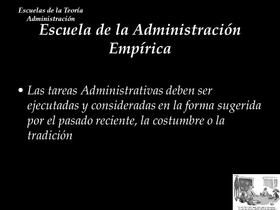 Escuela de la Administración Empírica Escuelas de la Teoría Administración Las tareas Administrativas deben ser ejecutadas y consideradas en la forma