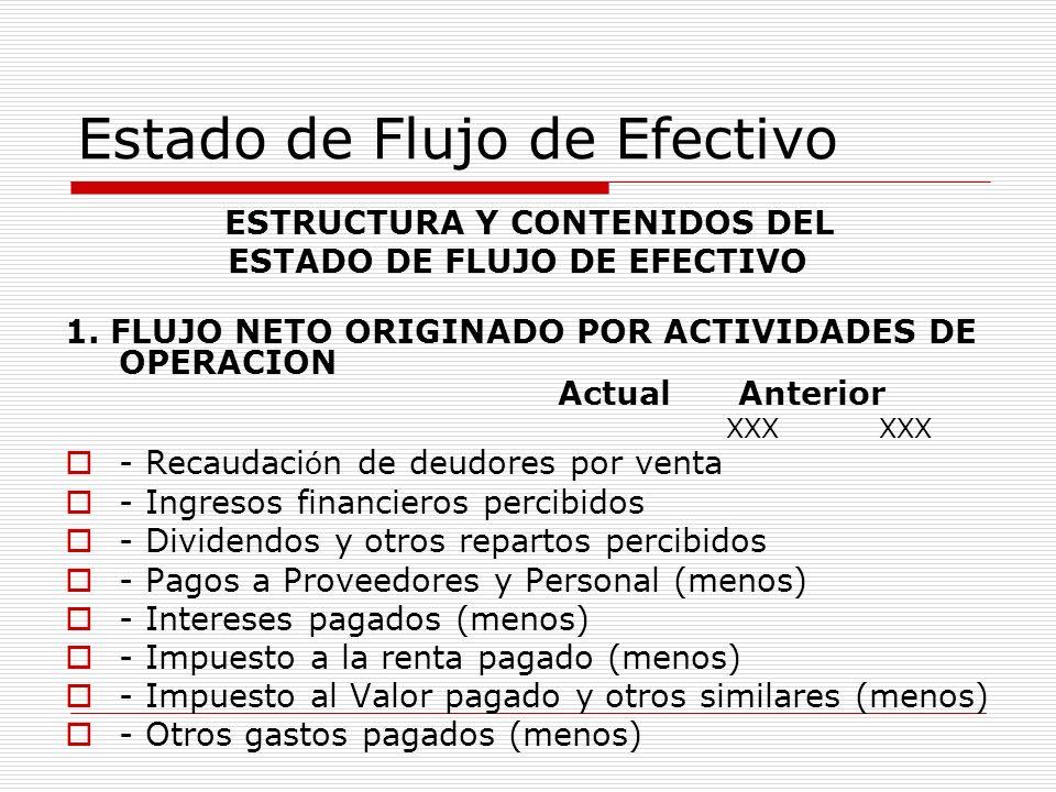 Estado de Flujo de Efectivo ESTRUCTURA Y CONTENIDOS DEL ESTADO DE FLUJO DE EFECTIVO 1. FLUJO NETO ORIGINADO POR ACTIVIDADES DE OPERACION Actual Anteri