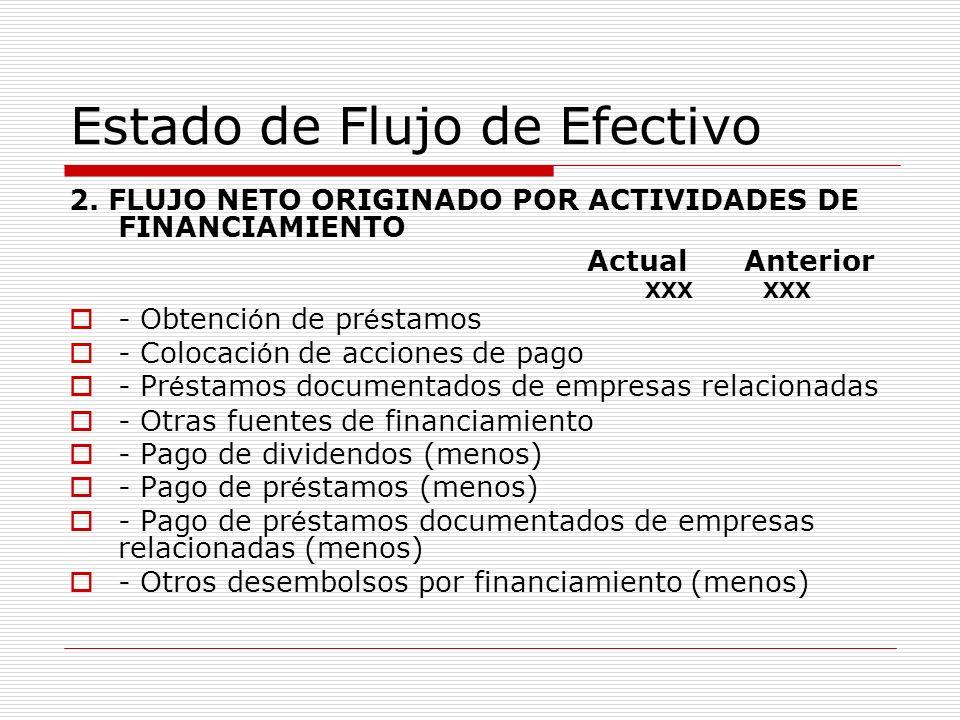 Estado de Flujo de Efectivo 2. FLUJO NETO ORIGINADO POR ACTIVIDADES DE FINANCIAMIENTO Actual Anterior XXX XXX - Obtenci ó n de pr é stamos - Colocaci