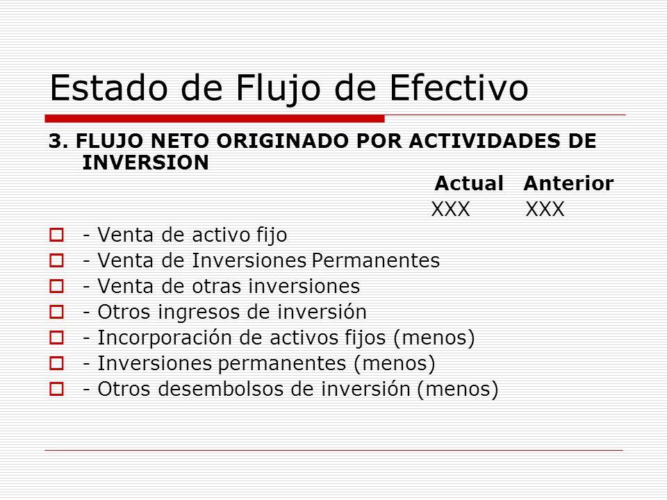 Estado de Flujo de Efectivo 3. FLUJO NETO ORIGINADO POR ACTIVIDADES DE INVERSION Actual Anterior XXX XXX - Venta de activo fijo - Venta de Inversiones