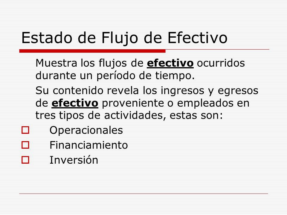 Estado de Flujo de Efectivo Muestra los flujos de efectivo ocurridos durante un período de tiempo. Su contenido revela los ingresos y egresos de efect
