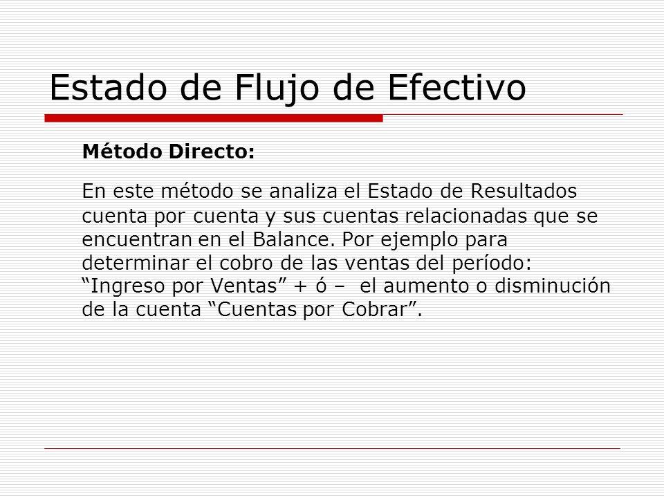 Estado de Flujo de Efectivo Método Directo: En este método se analiza el Estado de Resultados cuenta por cuenta y sus cuentas relacionadas que se encu