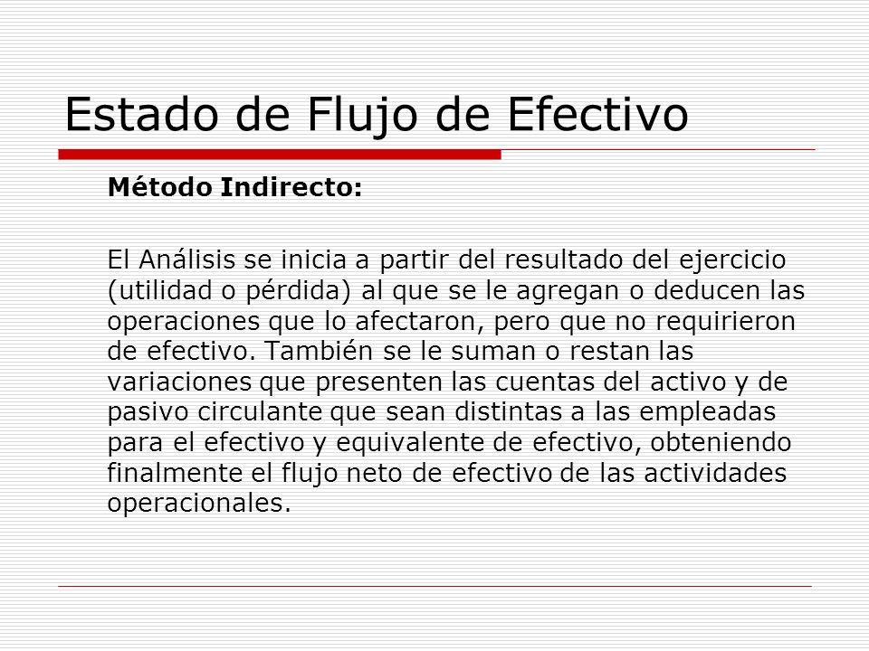 Estado de Flujo de Efectivo Método Indirecto: El Análisis se inicia a partir del resultado del ejercicio (utilidad o pérdida) al que se le agregan o d