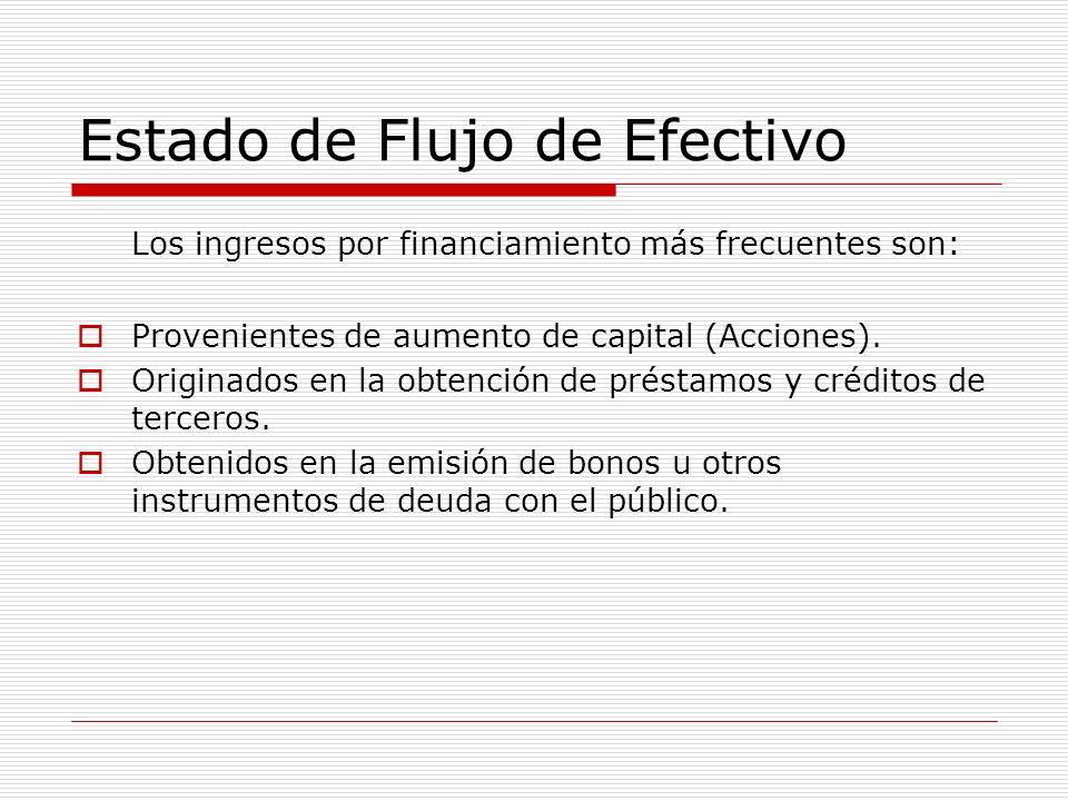 Estado de Flujo de Efectivo Los ingresos por financiamiento más frecuentes son: Provenientes de aumento de capital (Acciones). Originados en la obtenc