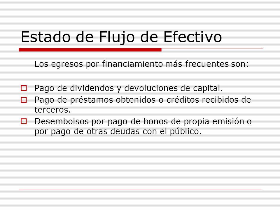 Estado de Flujo de Efectivo Los egresos por financiamiento más frecuentes son: Pago de dividendos y devoluciones de capital. Pago de préstamos obtenid