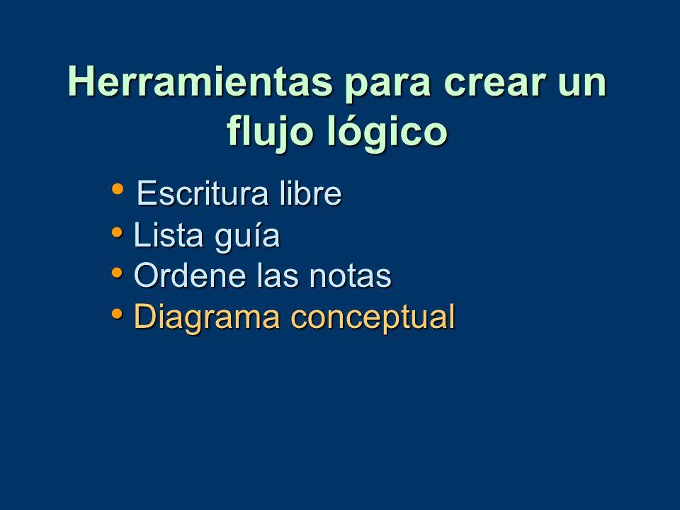 Escritura libre Lista guía Lista guía Ordene las notas Ordene las notas Diagrama conceptual Diagrama conceptual Herramientas para crear un flujo lógic