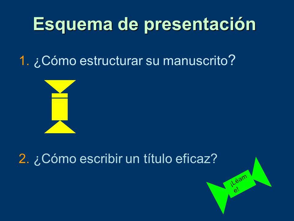 1. ¿Cómo estructurar su manuscrito ? Esquema de presentación 2. ¿Cómo escribir un título eficaz? ¡Léam e!