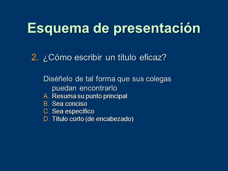 Esquema de presentación ¿Cómo escribir un título eficaz? 2. ¿Cómo escribir un título eficaz? Diséñelo de tal forma que sus colegas puedan encontrarlo