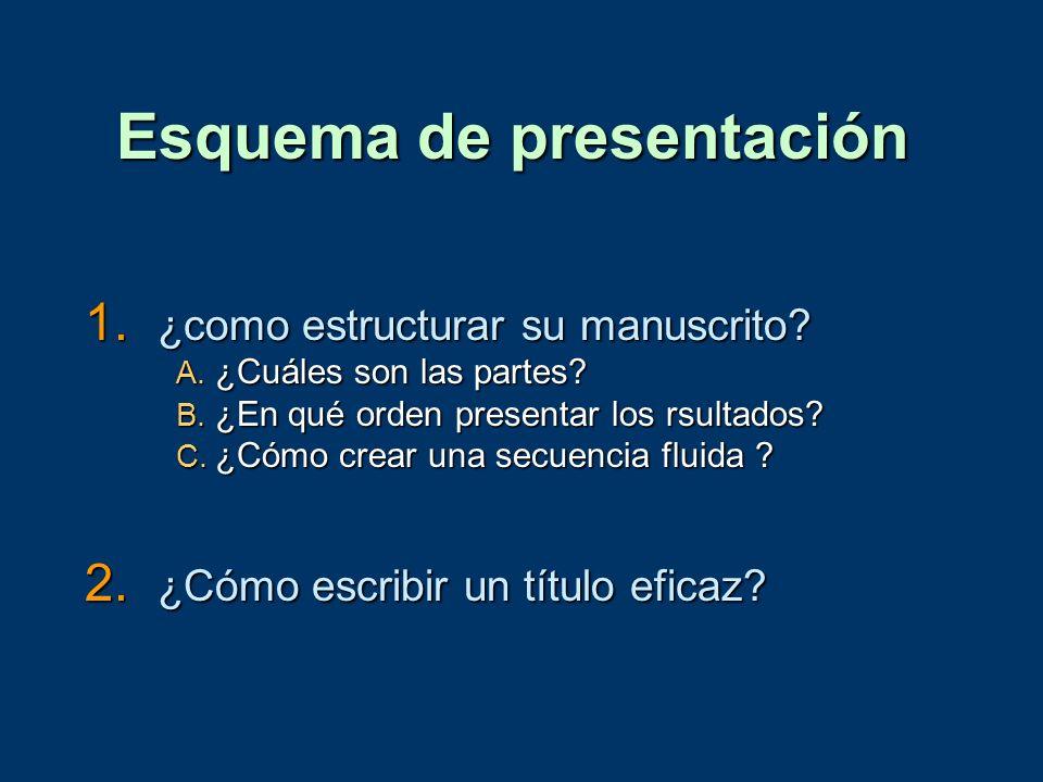 Esquema de presentación 1. ¿como estructurar su manuscrito? A. ¿Cuáles son las partes? B. ¿En qué orden presentar los rsultados? C. ¿Cómo crear una se