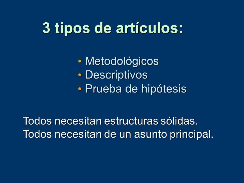 3 tipos de artículos: Metodológicos Descriptivos Descriptivos Prueba de hipótesis Prueba de hipótesis Todos necesitan estructuras sólidas. Todos neces
