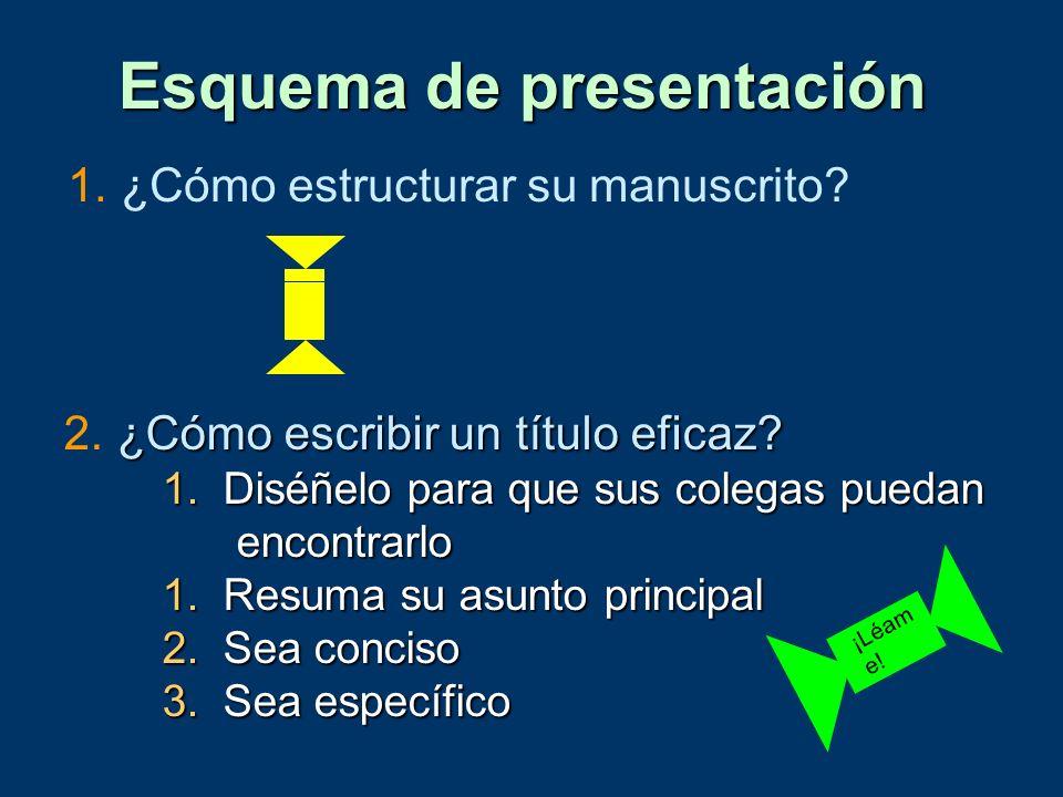 1. ¿Cómo estructurar su manuscrito? Esquema de presentación ¿Cómo escribir un título eficaz? 2. ¿Cómo escribir un título eficaz? 1.Diséñelo para que s