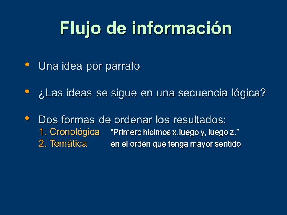 Flujo de información Una idea por párrafo ¿Las ideas se sigue en una secuencia lógica? ¿Las ideas se sigue en una secuencia lógica? Dos formas de orde