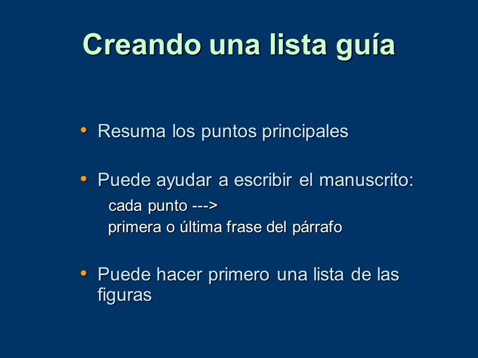 Creando una lista guía Resuma los puntos principales Resuma los puntos principales Puede ayudar a escribir el manuscrito: Puede ayudar a escribir el m