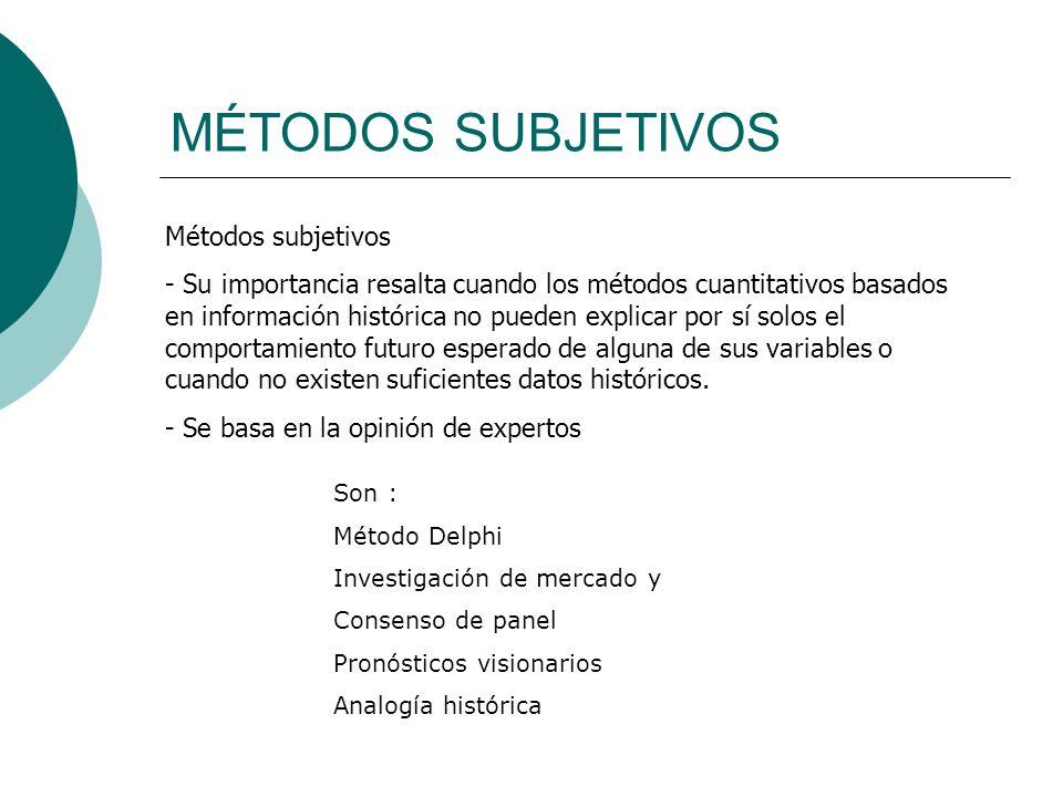 MÉTODOS SUBJETIVOS Métodos subjetivos - Su importancia resalta cuando los métodos cuantitativos basados en información histórica no pueden explicar po