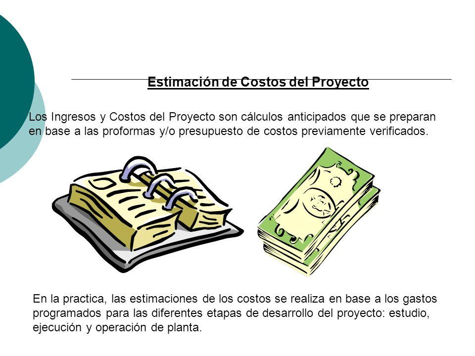 Estimación de Costos del Proyecto Los Ingresos y Costos del Proyecto son cálculos anticipados que se preparan en base a las proformas y/o presupuesto