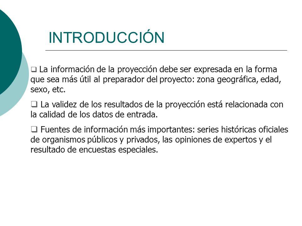 INTRODUCCIÓN La información de la proyección debe ser expresada en la forma que sea más útil al preparador del proyecto: zona geográfica, edad, sexo,