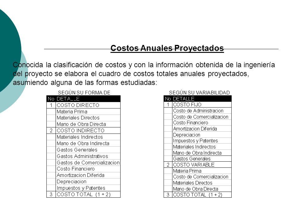 Costos Anuales Proyectados Conocida la clasificación de costos y con la información obtenida de la ingeniería del proyecto se elabora el cuadro de cos