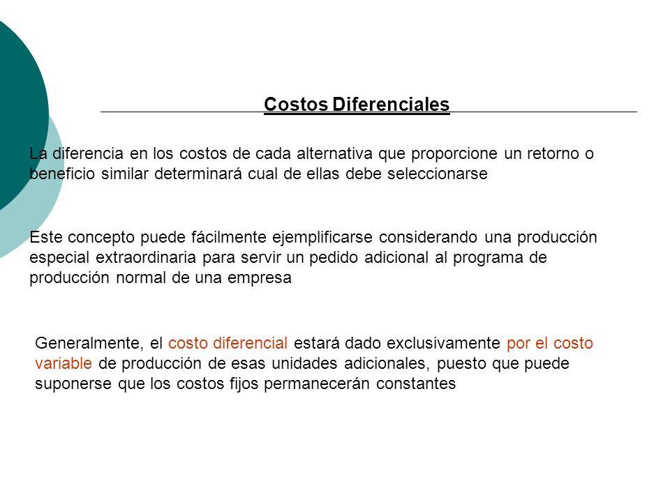 Costos Diferenciales La diferencia en los costos de cada alternativa que proporcione un retorno o beneficio similar determinará cual de ellas debe sel