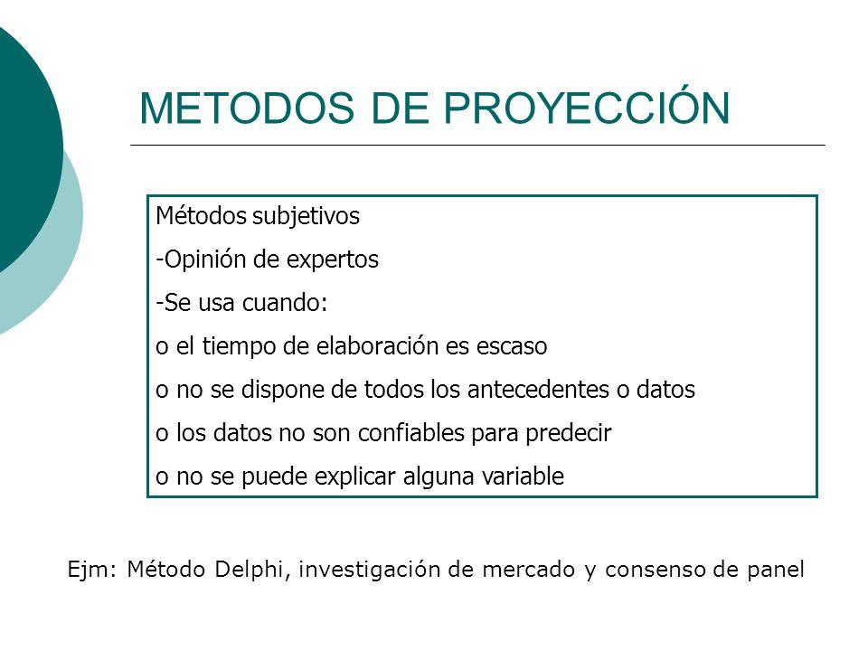 METODOS DE PROYECCIÓN Métodos subjetivos -Opinión de expertos -Se usa cuando: o el tiempo de elaboración es escaso o no se dispone de todos los antece