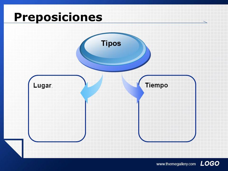 LOGO www.themegallery.com Preposiciones Tiempo Lugar. Tipos