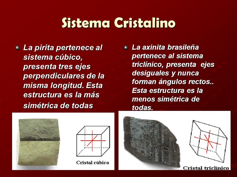 Sistema Cristalino La pirita pertenece al sistema cúbico, presenta tres ejes perpendiculares de la misma longitud. Esta estructura es la más simétrica