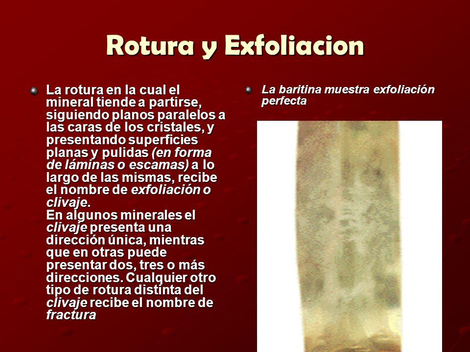 Rotura y Exfoliacion La rotura en la cual el mineral tiende a partirse, siguiendo planos paralelos a las caras de los cristales, y presentando superfi