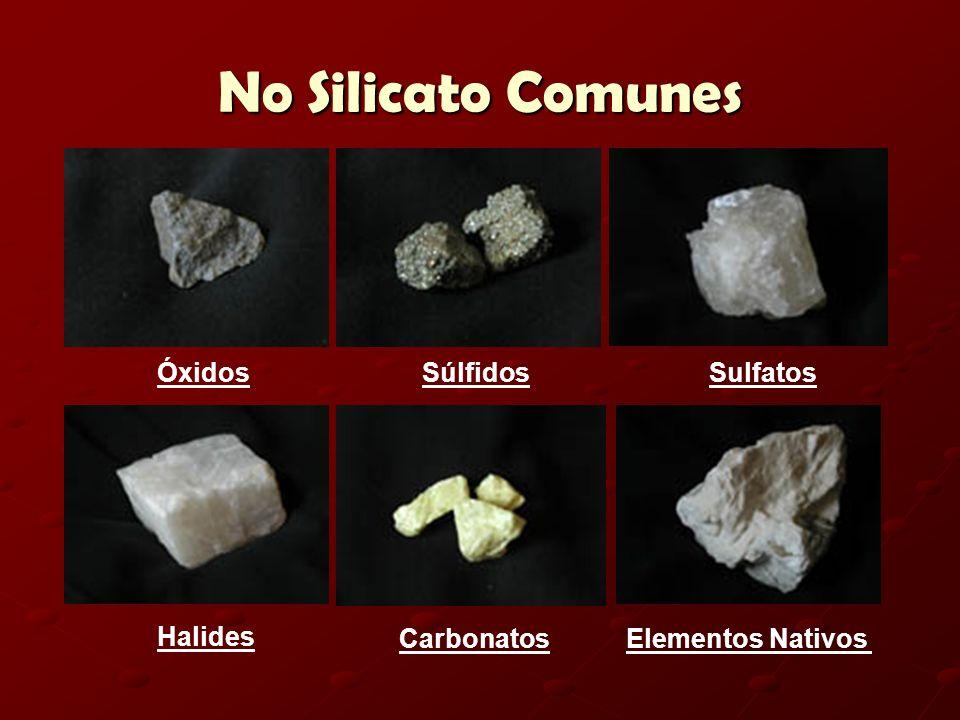 No Silicato Comunes ÓxidosSúlfidosSulfatos Halides CarbonatosElementos Nativos