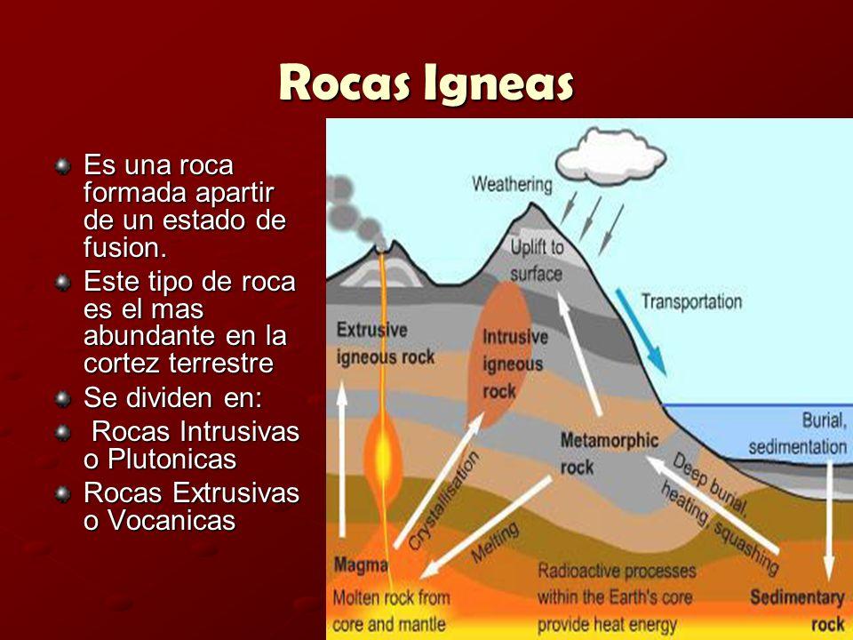 Rocas Igneas Es una roca formada apartir de un estado de fusion. Este tipo de roca es el mas abundante en la cortez terrestre Se dividen en: Rocas Int
