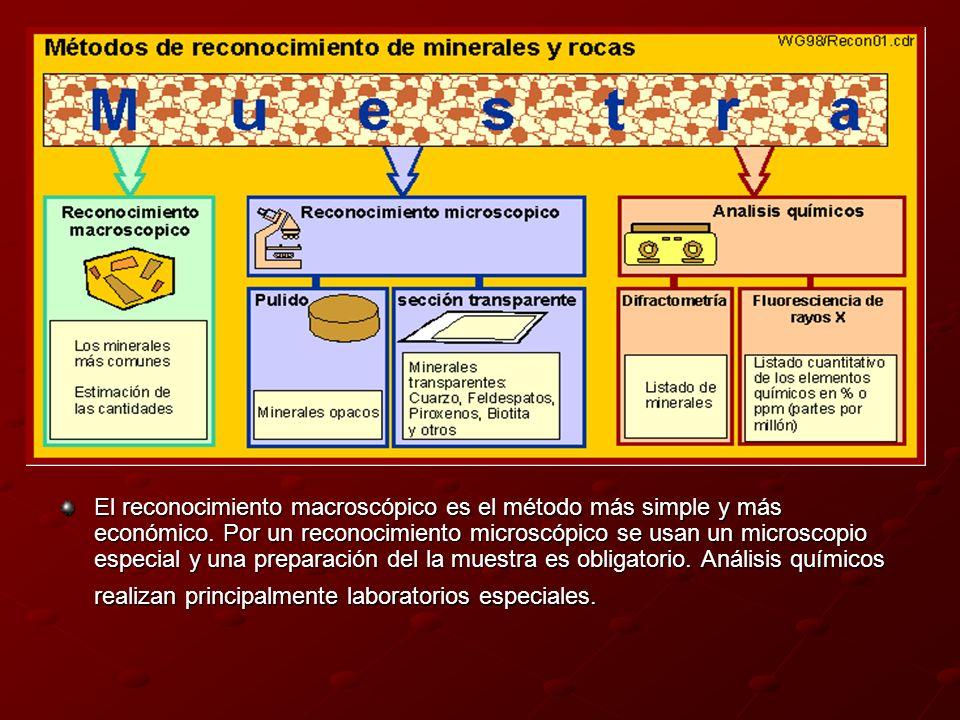 El reconocimiento macroscópico es el método más simple y más económico. Por un reconocimiento microscópico se usan un microscopio especial y una prepa