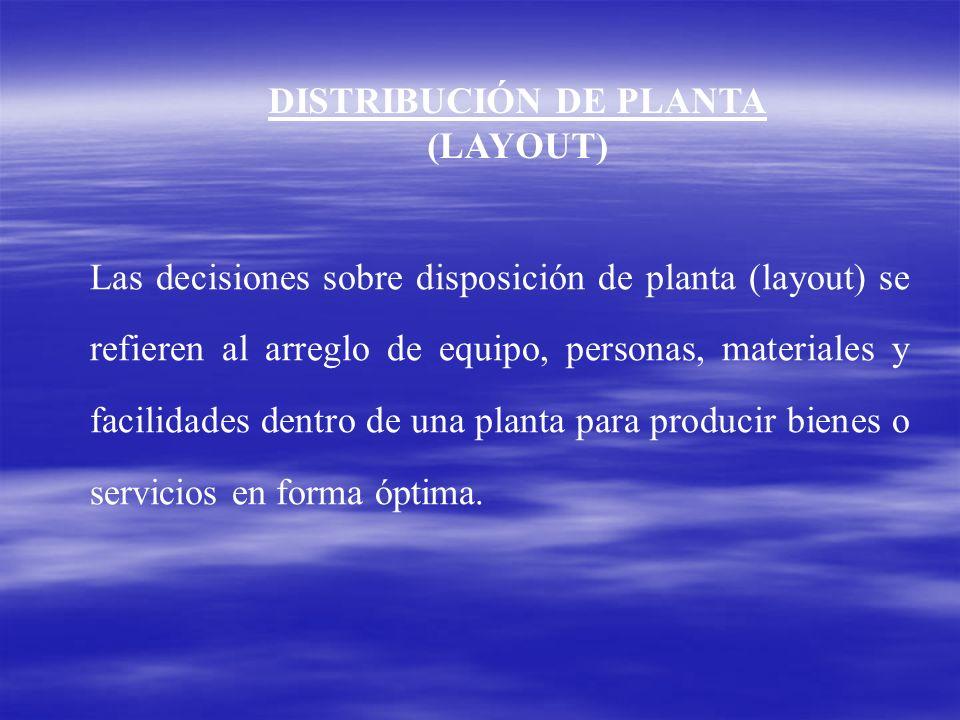 DISTRIBUCIÓN DE PLANTA (LAYOUT) Las decisiones sobre disposición de planta (layout) se refieren al arreglo de equipo, personas, materiales y facilidad