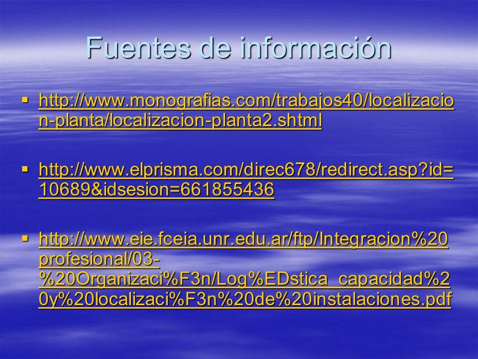 Fuentes de información http://www.monografias.com/trabajos40/localizacio n-planta/localizacion-planta2.shtml http://www.monografias.com/trabajos40/loc