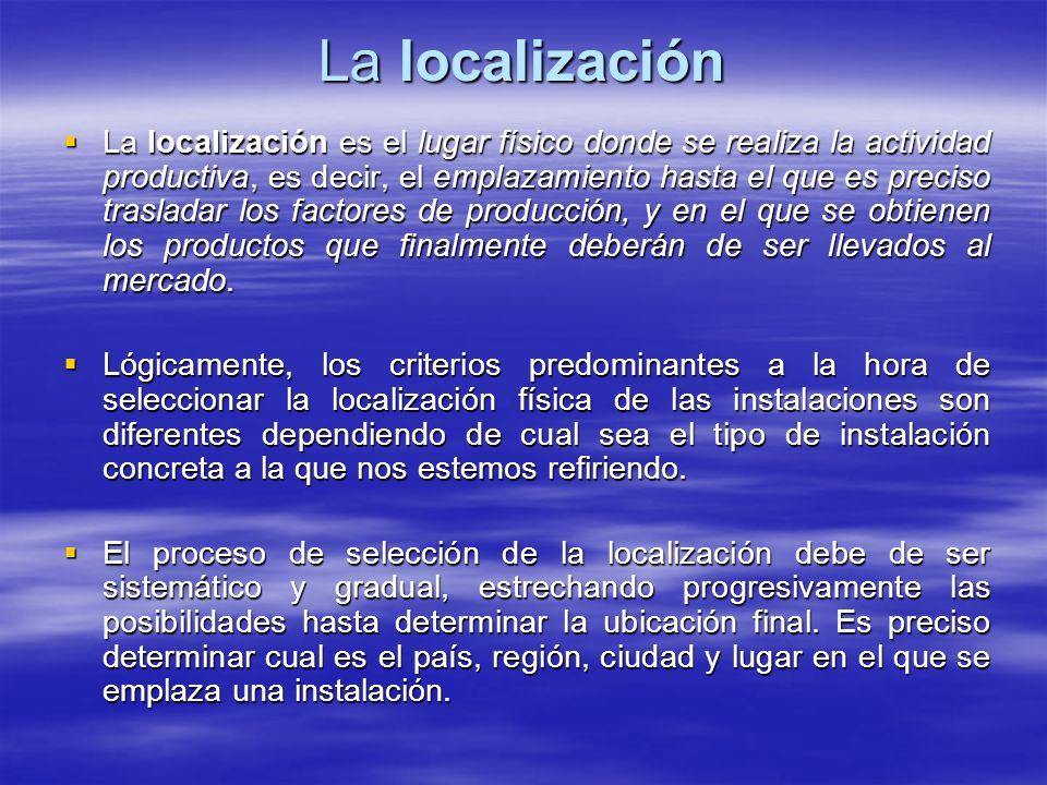 La localización La localización es el lugar físico donde se realiza la actividad productiva, es decir, el emplazamiento hasta el que es preciso trasla