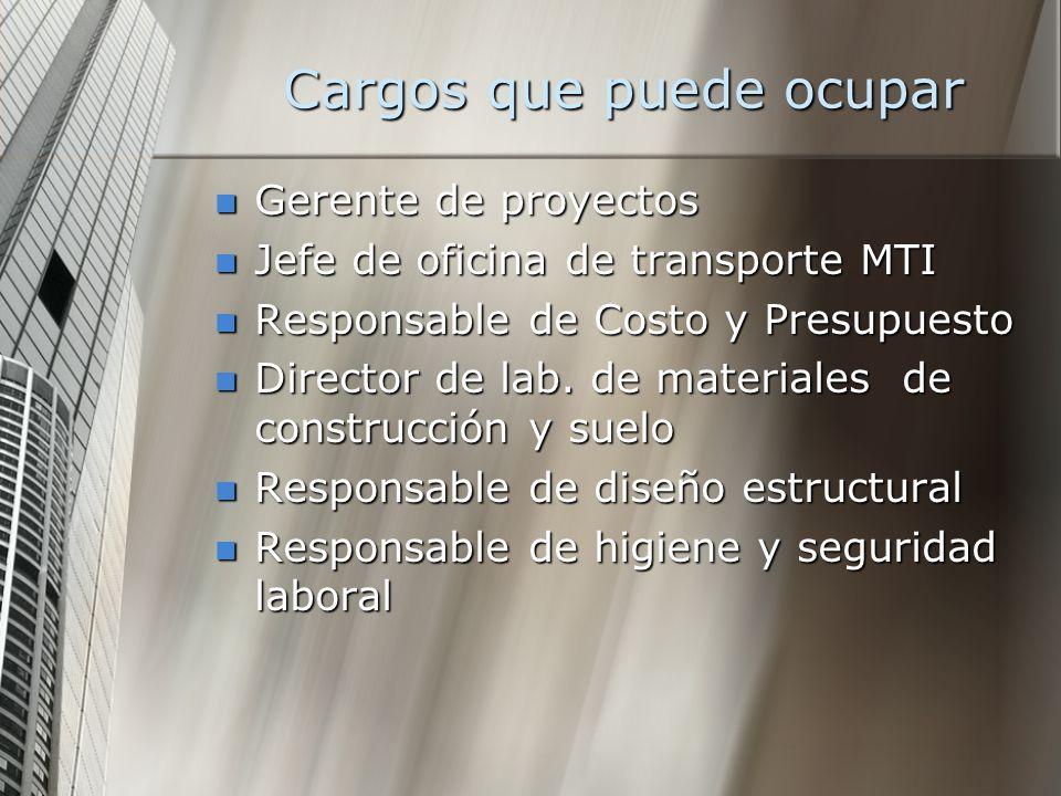 Cargos que puede ocupar Gerente de proyectos Gerente de proyectos Jefe de oficina de transporte MTI Jefe de oficina de transporte MTI Responsable de C