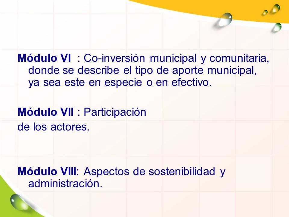 Módulo VI : Co-inversión municipal y comunitaria, donde se describe el tipo de aporte municipal, ya sea este en especie o en efectivo. Módulo VII : Pa