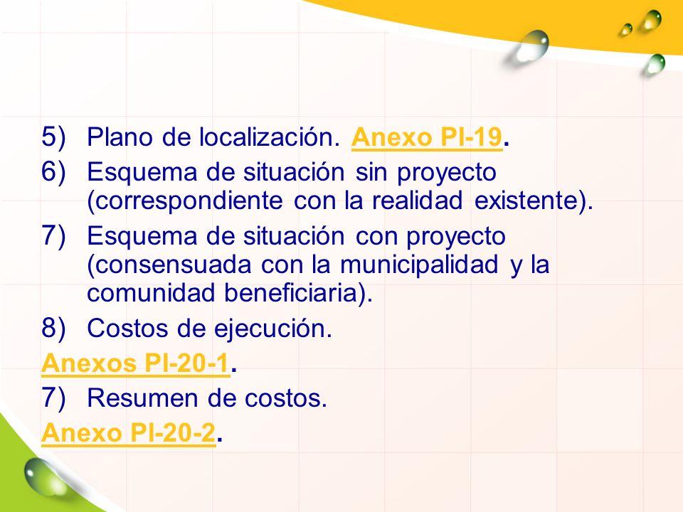 5) Plano de localización. Anexo PI-19.Anexo PI-19 6) Esquema de situación sin proyecto (correspondiente con la realidad existente). 7) Esquema de situ