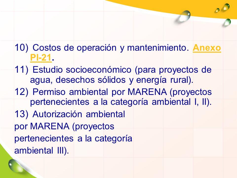 10) Costos de operación y mantenimiento. Anexo PI-21.Anexo PI-21 11) Estudio socioeconómico (para proyectos de agua, desechos sólidos y energía rural)