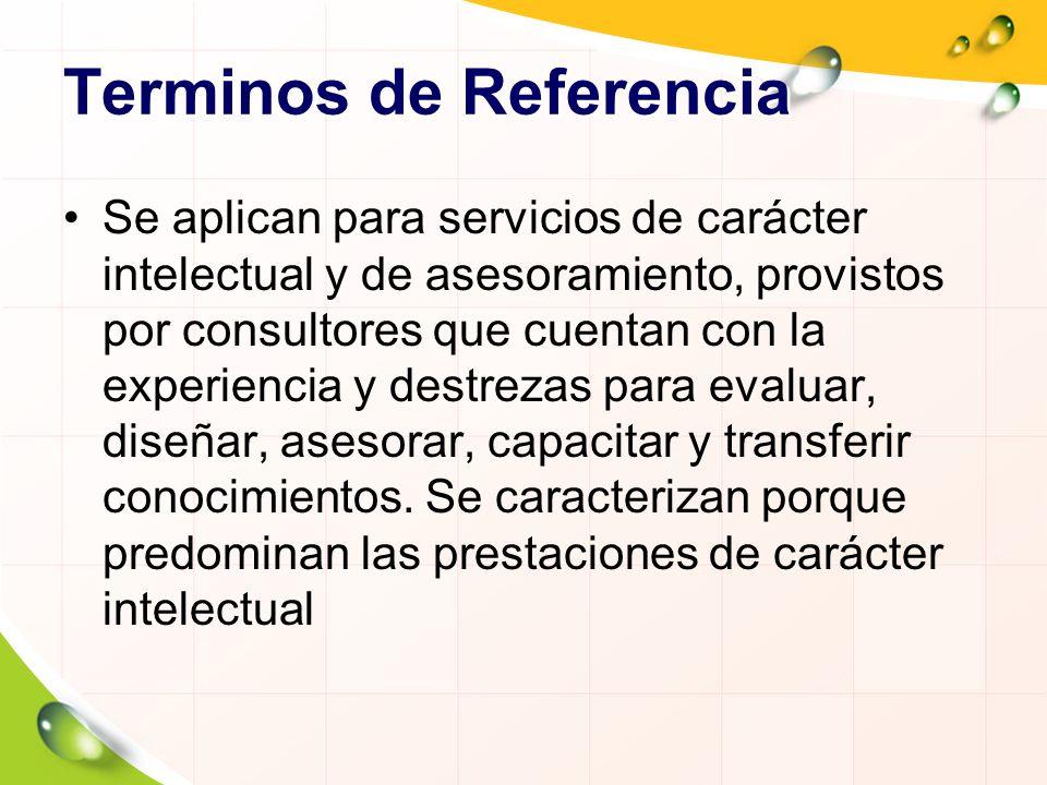 Terminos de Referencia Se aplican para servicios de carácter intelectual y de asesoramiento, provistos por consultores que cuentan con la experiencia