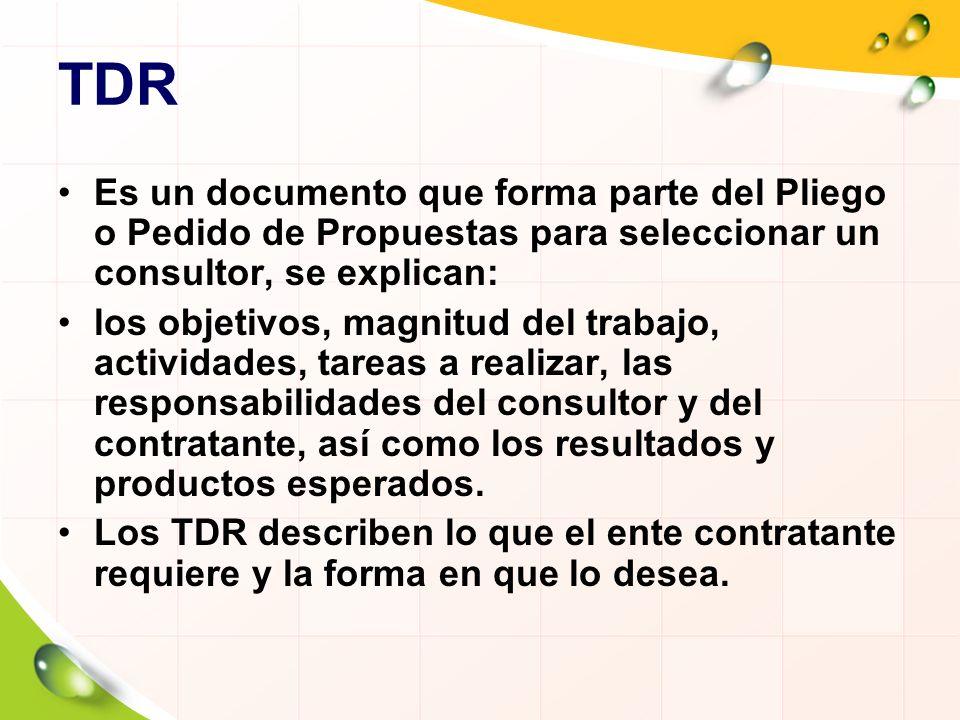 TDR Es un documento que forma parte del Pliego o Pedido de Propuestas para seleccionar un consultor, se explican: los objetivos, magnitud del trabajo,