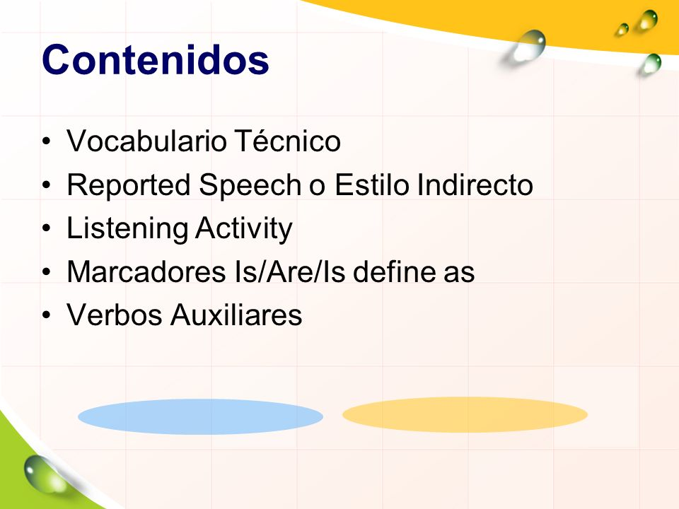 Contenidos Vocabulario Técnico Reported Speech o Estilo Indirecto Listening Activity Marcadores Is/Are/Is define as Verbos Auxiliares